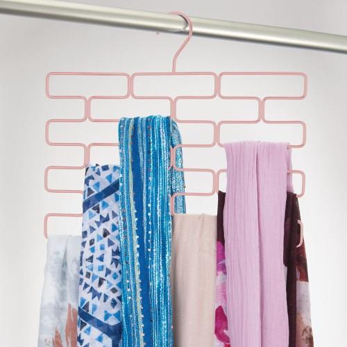 mDesign Hanging Metal Closet Scarf Holder - 18 Section