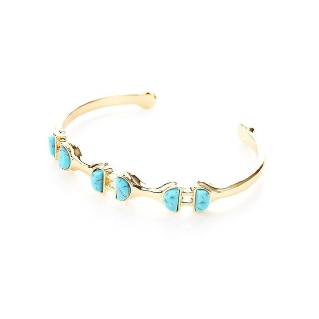 Turquoise Semicircular Patterned Interlinked Bracelet for women