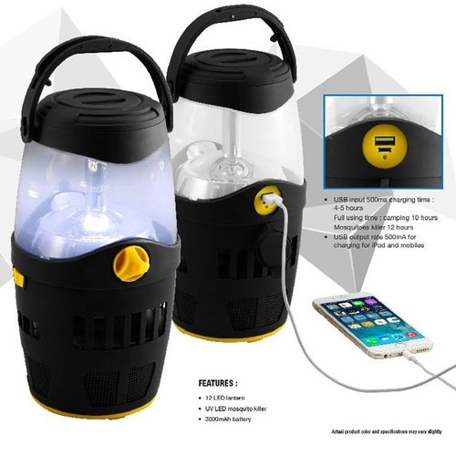 3-in-1 Camping Light with UV Light Mosquito Killer and Built-In Power Bank