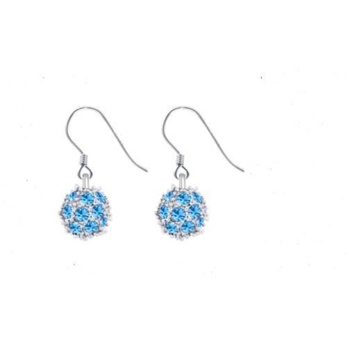 18Kt White Gold Blue Crystal Fire Ball Earrings