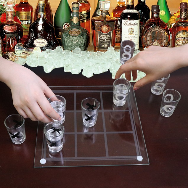 BIGTREE Tic Tac Toe Shot Glass Party Time Playing Board Drinking Game