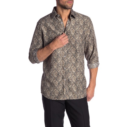 Rosso Milano Modern Fit Long Sleeve Tan Floral Printed Dress Shirt