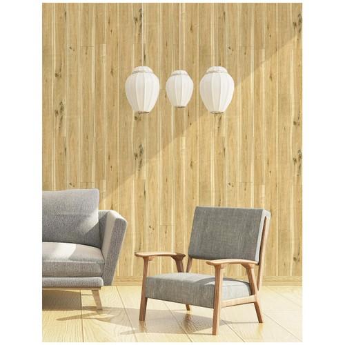 "Peel and Stick Wood Plank Wallpaper Self Adhesive Wood Grain Wall Paper Murals Brown Yellow 17.7""x 19.7ft"