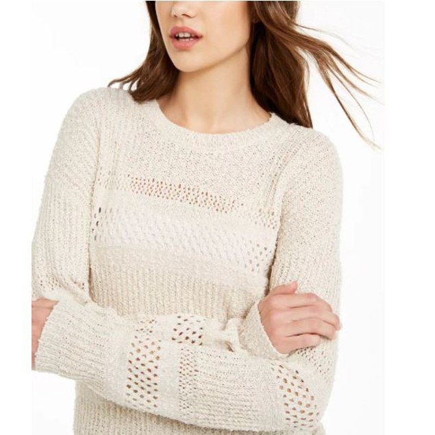 Hooked Up By IOT Junior's Stitched Sweater Beige Size Small