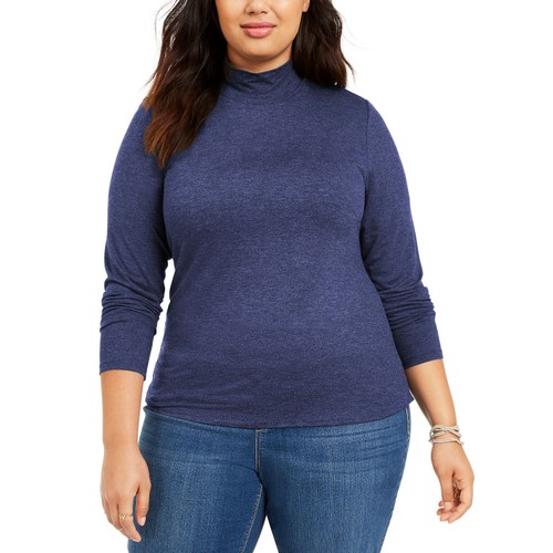 Style & Co Women's Plus Size Solid Mock-Neck Top  Blue Size 3 Extra Large