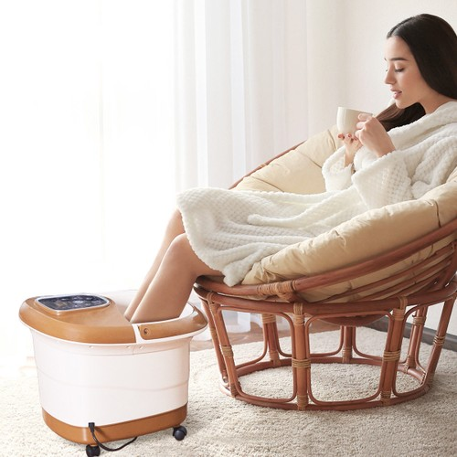 Foot Spa Bath Massager with Heat, Bubbles and Rollers