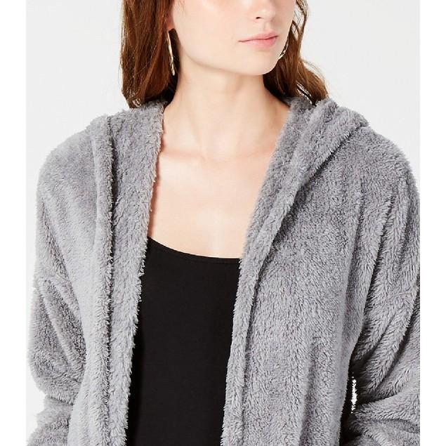 Hippie Rose  Juniors' Plush Hooded Cardigan Gray Size Medium