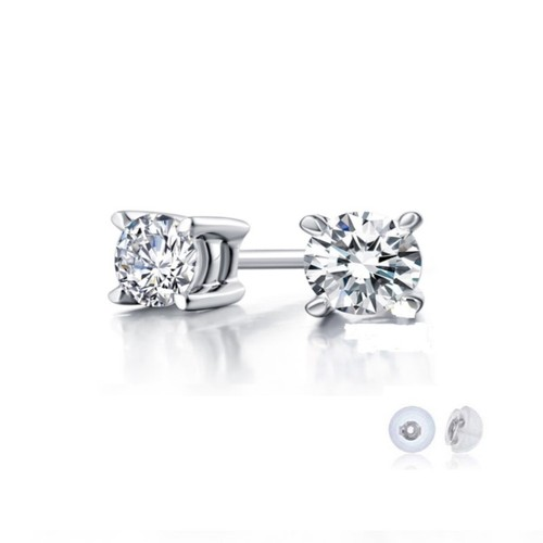 Sterling Silver Rhodium Finish 3mm Round Cubic Zircon Stud Post Earrings.