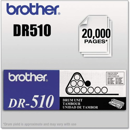 Brothers Brother DR510 20000 Page Drum Unit - Retail Packaging,Black