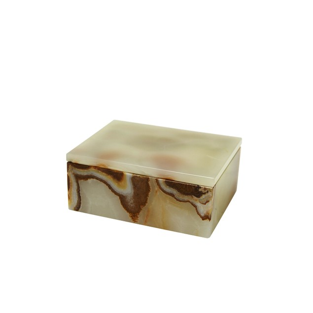"Asteria Collection 5"" Light Green Onyx Polished Marble Rectangular Box"