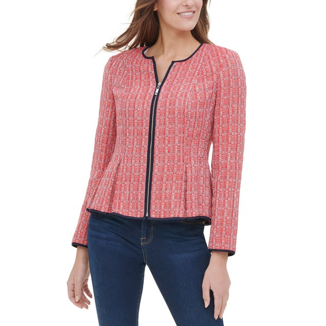 Tommy Hilfiger Women's Peplum-Hem Tweed Jacket Red Size 4