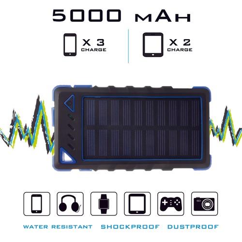 5000Mah Waterproof, Dustproof, Shockproof Solar Power Bank