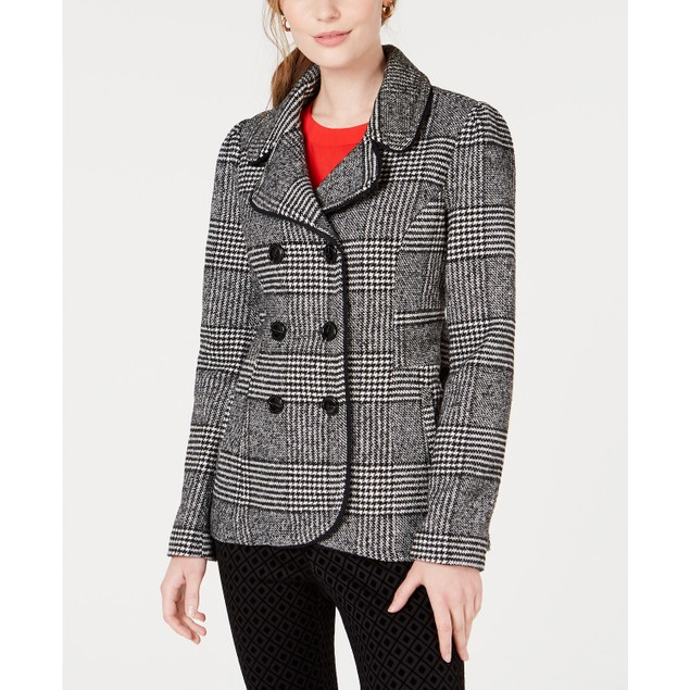 Maison Jules Women's Plaid Peacoat Jacket  Black Size Small