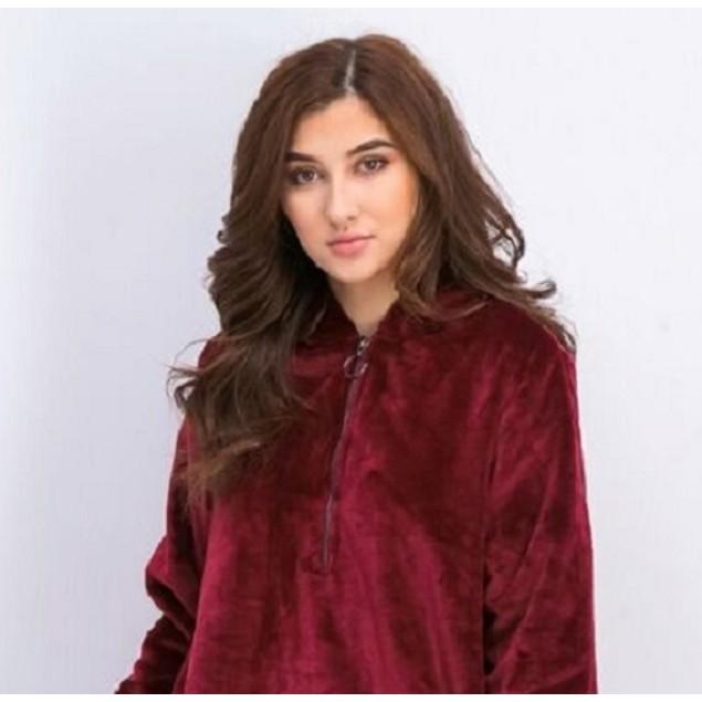 Ideology Women's Plus Size Half-Zip Faux-Fur Hoodie Medium Red Size 2X
