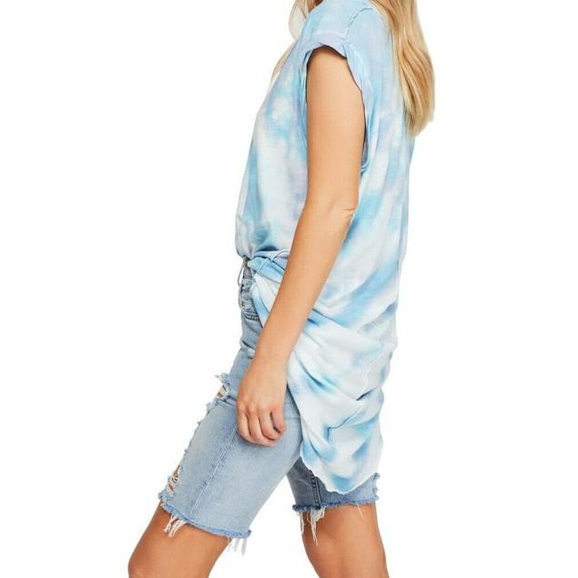 Free People Women's Breezy Point Longline Tee Blue Size Medium