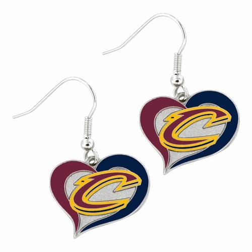 Cleveland Cavaliers Swirl Heart Dangle Earring Set NBA Charm Gift