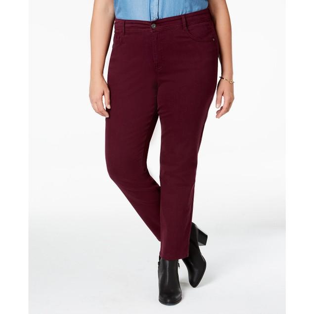 Style & Co Women's Plus Size Tummy-Control Slim-Leg Jeans Wine Size 24W