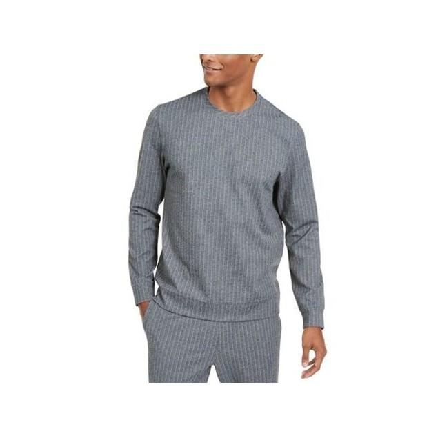 Alfani Men's Classic Fit Stretch Stripe Knit Sweatshirt Gray Size Large