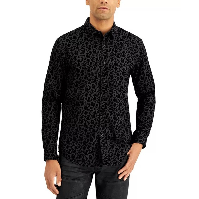 INC International Concepts Men's Flocked Floral Shirt Black Size Small