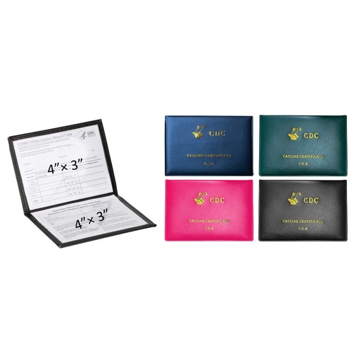 2-Pack: Faux Leather CDC Vaccination Card Immunization Record Protector Holder Passport