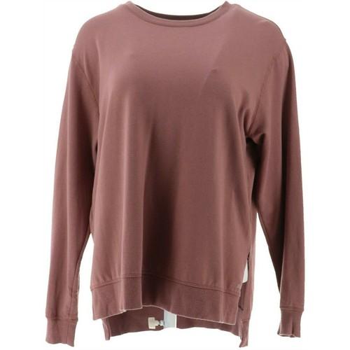 Zuda Z-Knit French Terry Pullover Side Slits Sweatshirt, Medium, Rose Taupe