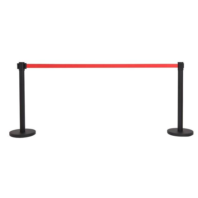 Costway 6Pcs Black Stanchion Posts Queue Pole Retractable Red Belt Crowd Co