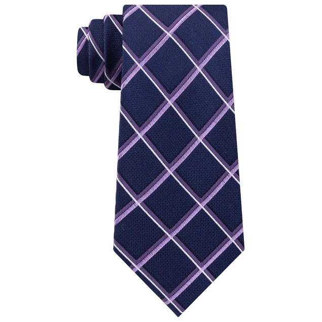 Michael Kors Men's Very Dark Blue Diamond Plaid Neck Tie Turq Size Regular