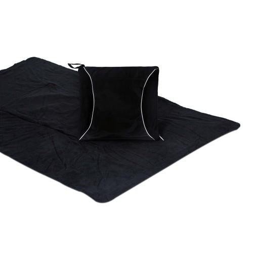 Picnic Plus  Fleece Blanket Cushion Black