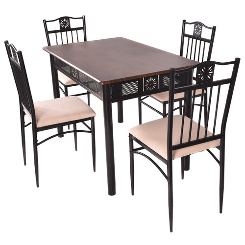 Costway 5 Piece Dining Set Wood Metal Table and 4 Chairs Kitchen Breakfast