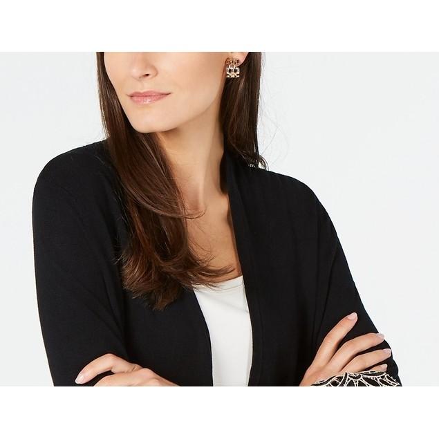 Alfani Women's Lace-Cuff Cardigan Black Size Large