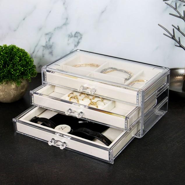 3 Drawer Acrylic Jewellery Box   Pukkr Cream