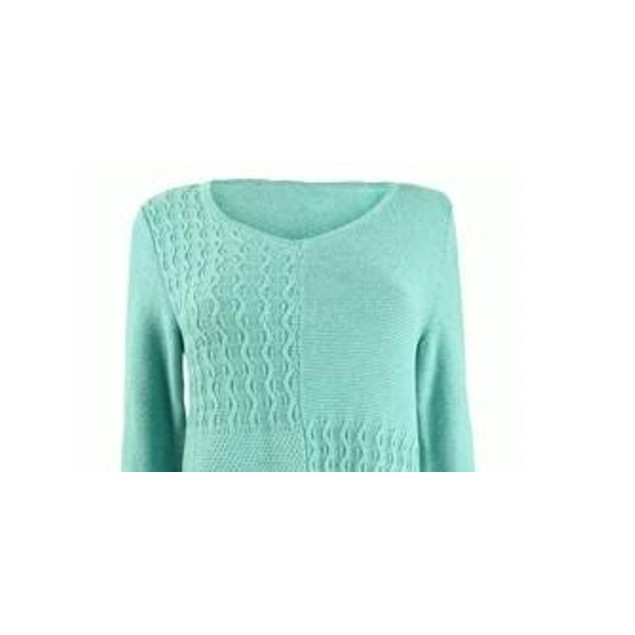 Karen Scott Women's Cotton Mixed-Stitch Sweater Blue Size Large