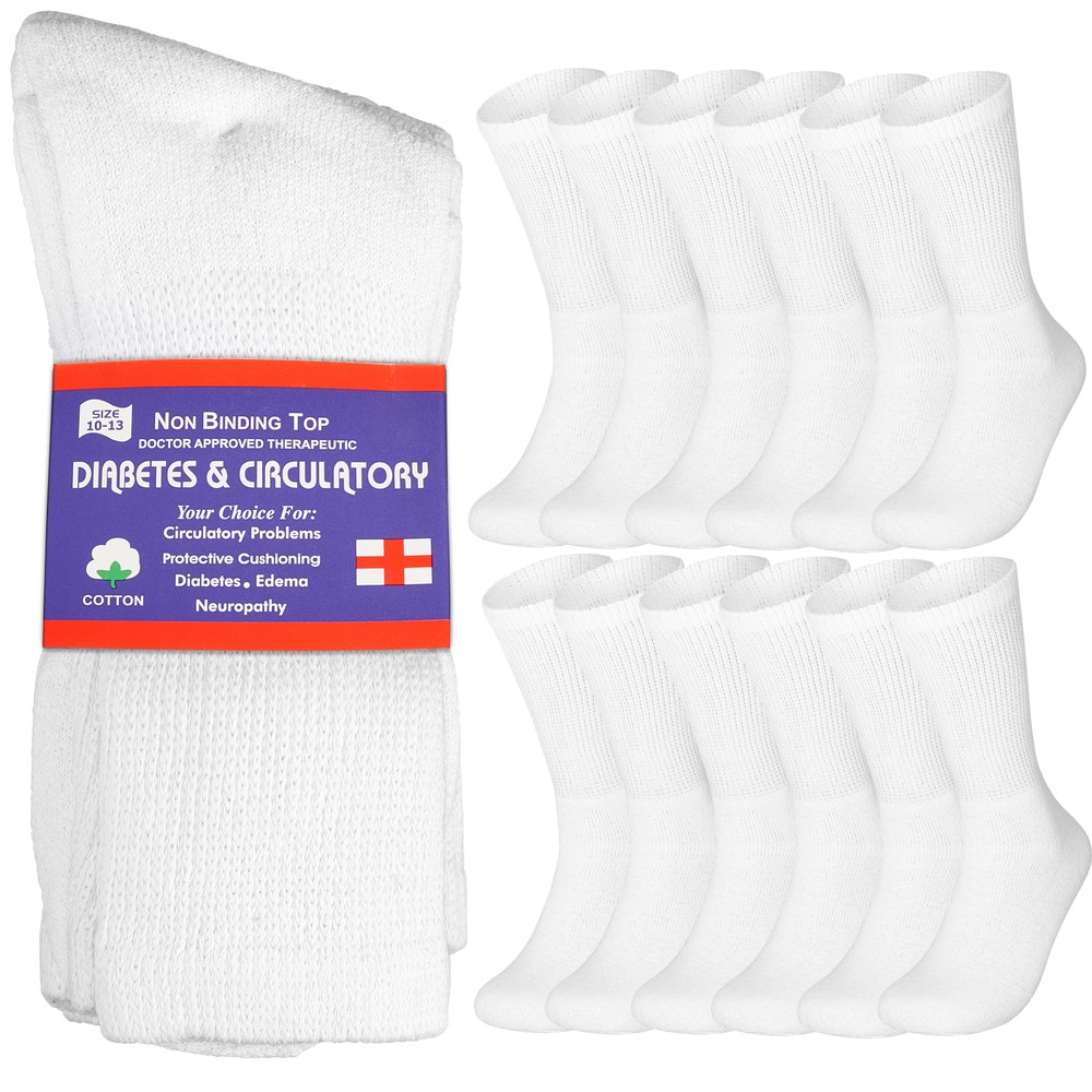 12-Pairs Physicians Approved Diabetic Crew Socks
