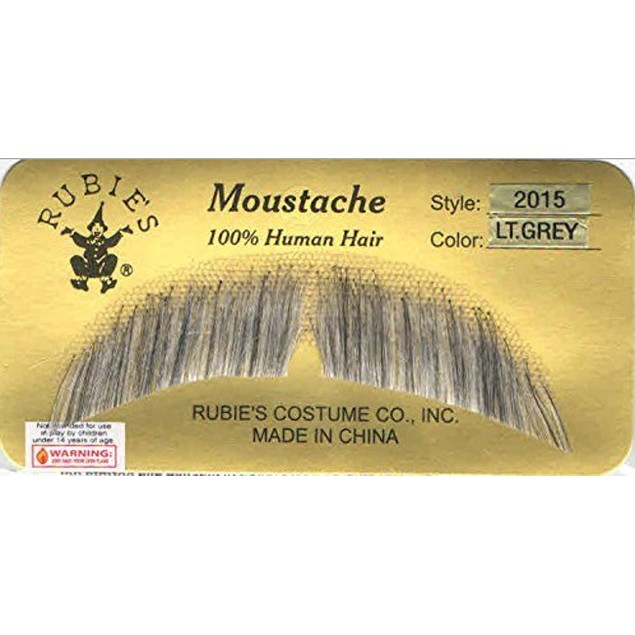 Light Grey Basic Character Moustache 100% Human Hair Costume Accessory