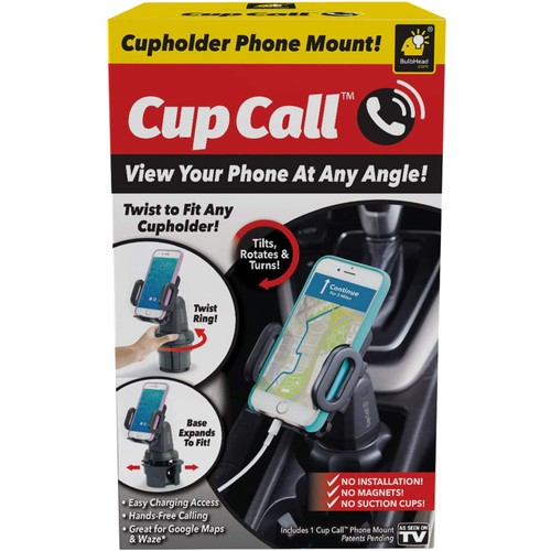 Cup Call Cell Phone Plastic 360 Dgree Rotates Holder Phone Mount, 1 Pk