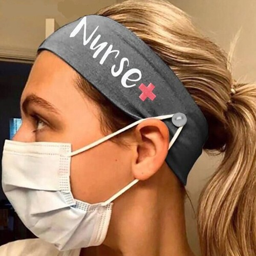 4-Pack Nurse Button Mask Headband Sports Headband