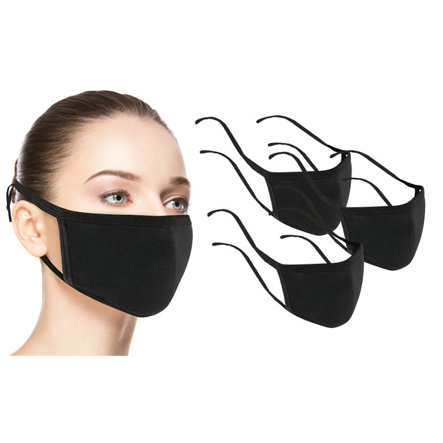 100% Cotton Reusable Face Masks with Adjustable Straps (6-Pack)
