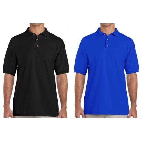 2-Pack Men's Cotton Polo Short Sleeve Shirt - Black & Blue