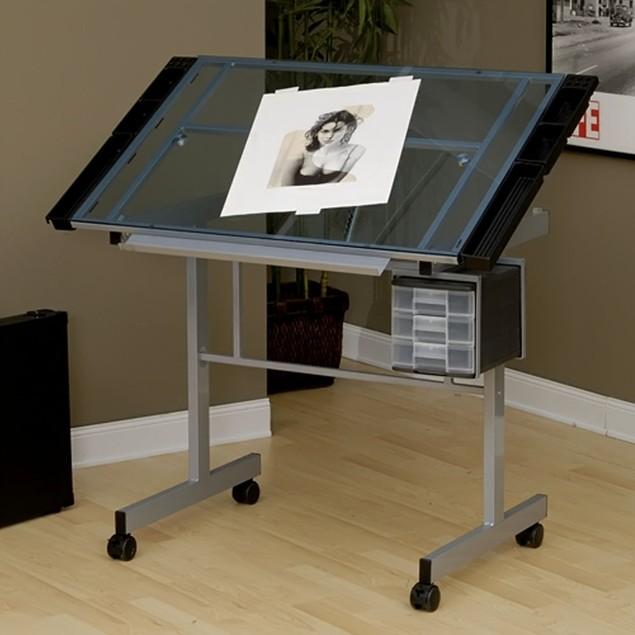 Studio Designs Vision Craft Station - Silver/Blue Glass