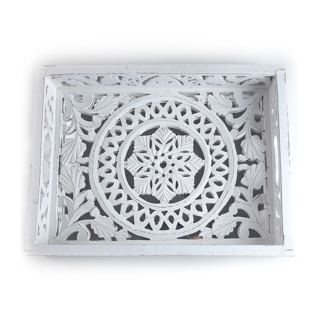 "Spura Home Set of 2 Nested Moroccan Style White Wooden Trays 12""x16"""