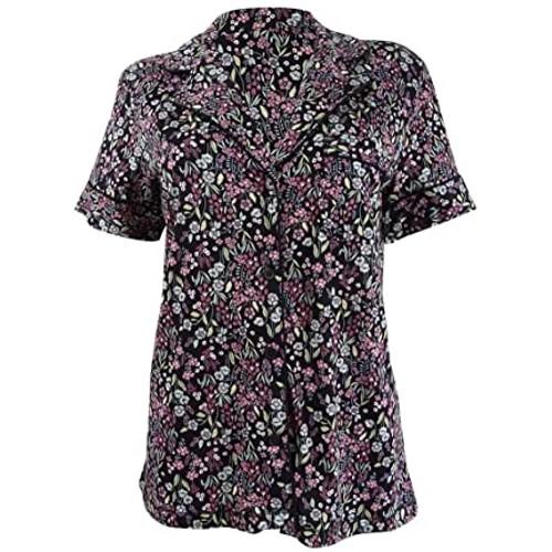 Charter Club Women's Cotton Printed Pajama Top Black Size Small
