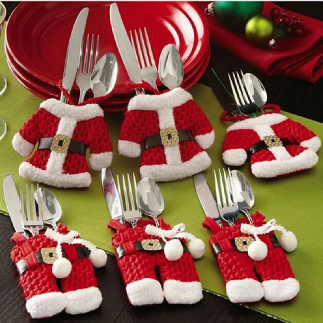 6 Pieces - Santa Suit Christmas Silverware Holders
