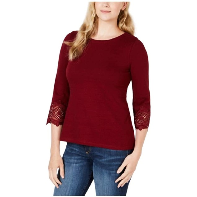 Charter Club Women's Cotton Lace-Trim Top Wine Size X-Large