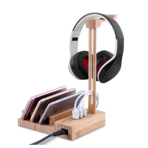 2 in 1 Bamboo Wood Charging Station Stand 3 USB for iPhone & Apple Watch
