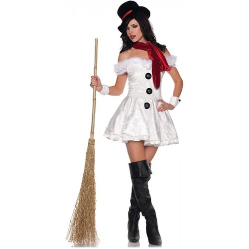 Frosty The Snowman Womens Costume Snow Man Snow'd In Frozen Olaf Sexy Adult