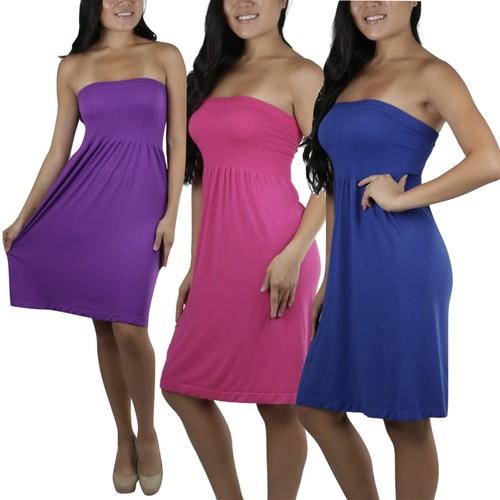 ToBeInStyle Women's Summer Cover Up Beach Strapless Bandeau Dress