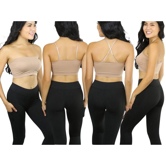 (6 Pack) ToBeInStyle Women's Bandeaus w/ Removable Straps