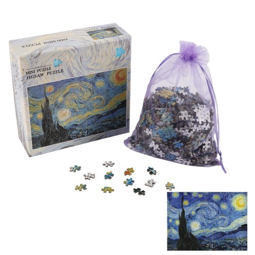 BIGTREE Mini 10x15 Classic Oil Paintings 1000 Pieces Micro Jigsaw Puzzle The Starry Night Artwork Gift Home Decoration Backside Clue