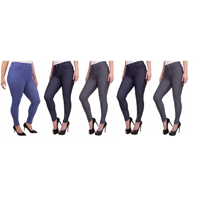 Women's 5-Pack of 5 Functional Pocket Jeggings. Plus Sizes Available