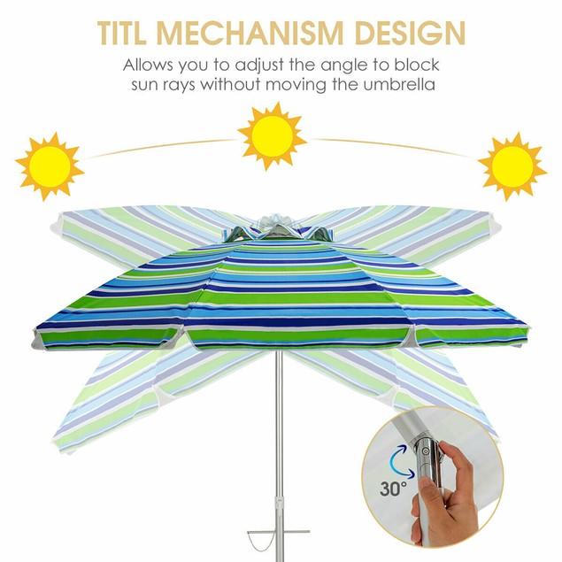 Costway 6.5FT Patio Beach Umbrella Sun Shade Tilt W/Carry Bag Turquoise